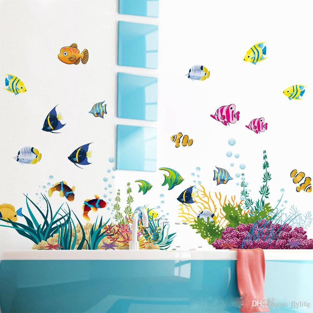 Diy Tropical Fish Nursery Room Cartoon Undersea World Wall Sticker Inside Most Recent Fish Decals For Bathroom (View 7 of 30)