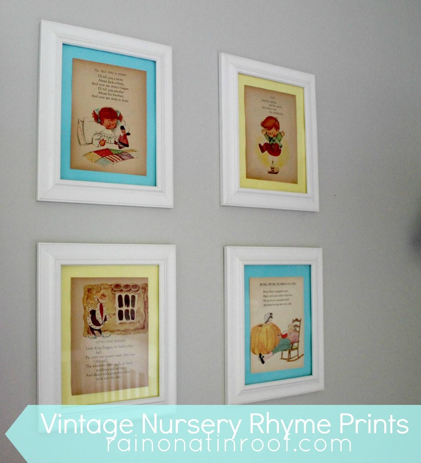 Diy Vintage Nursery Rhyme Prints: Simple & Cheap Regarding Best And Newest Nursery Framed Wall Art (View 10 of 20)