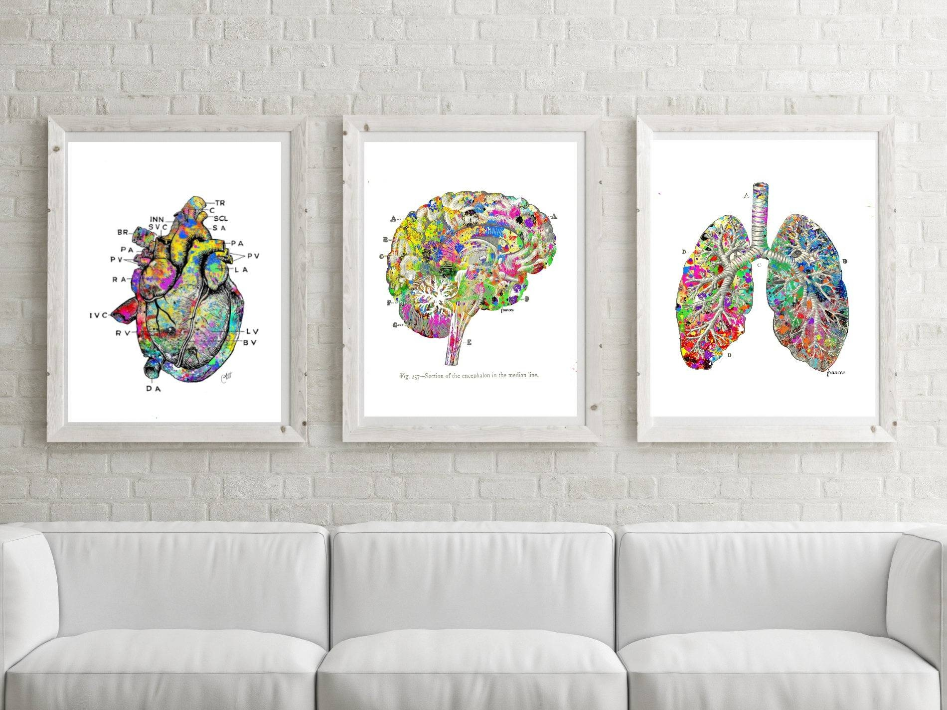 Doctor Gift Idea Medical Printable Lung Art Heart Print Inside Recent Medical Wall Art (View 10 of 20)