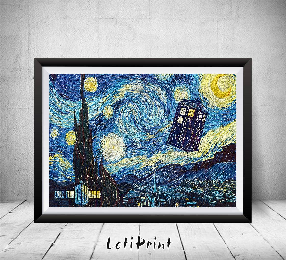 Doctor Who Starry Night Print Tardis Print Doctor Who Intended For Newest Doctor Who Wall Art (View 15 of 33)