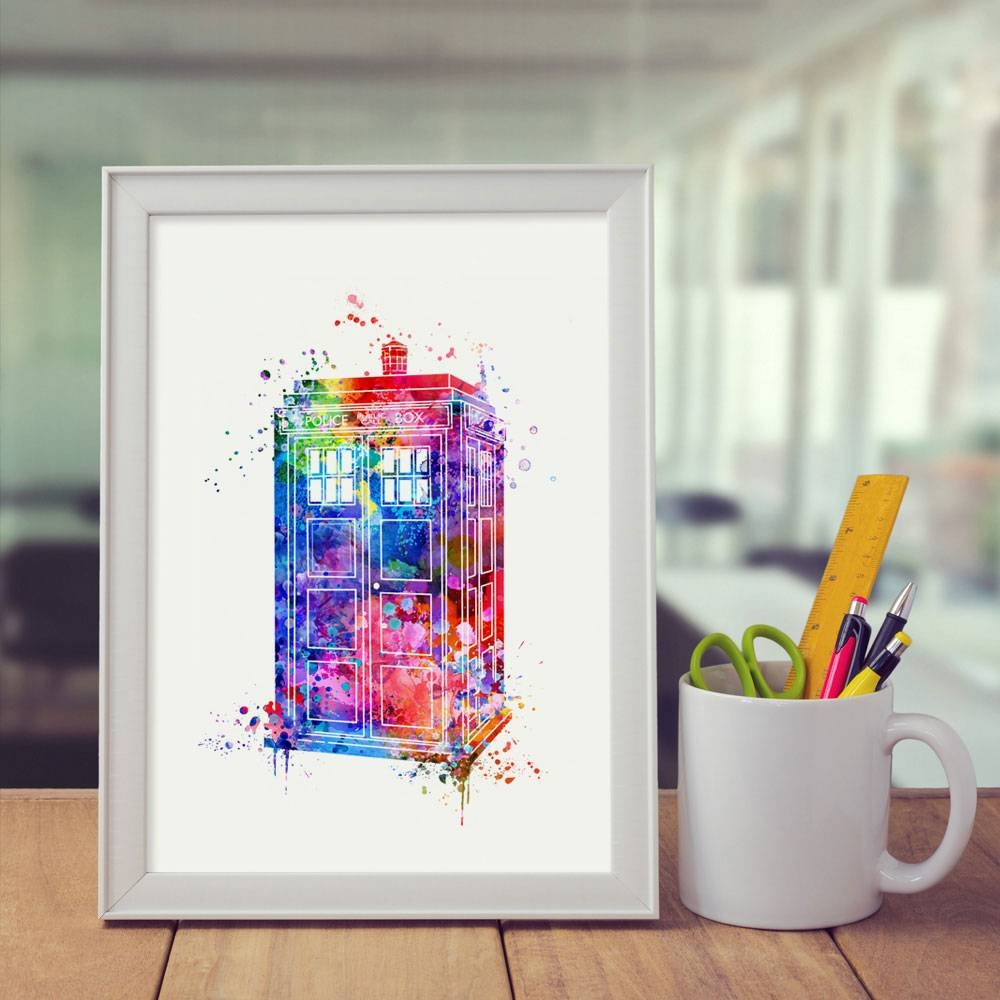 Doctor Who Tardis Art Children Watercolor Living Room Decor Box Throughout Newest Doctor Who Wall Art (View 16 of 33)