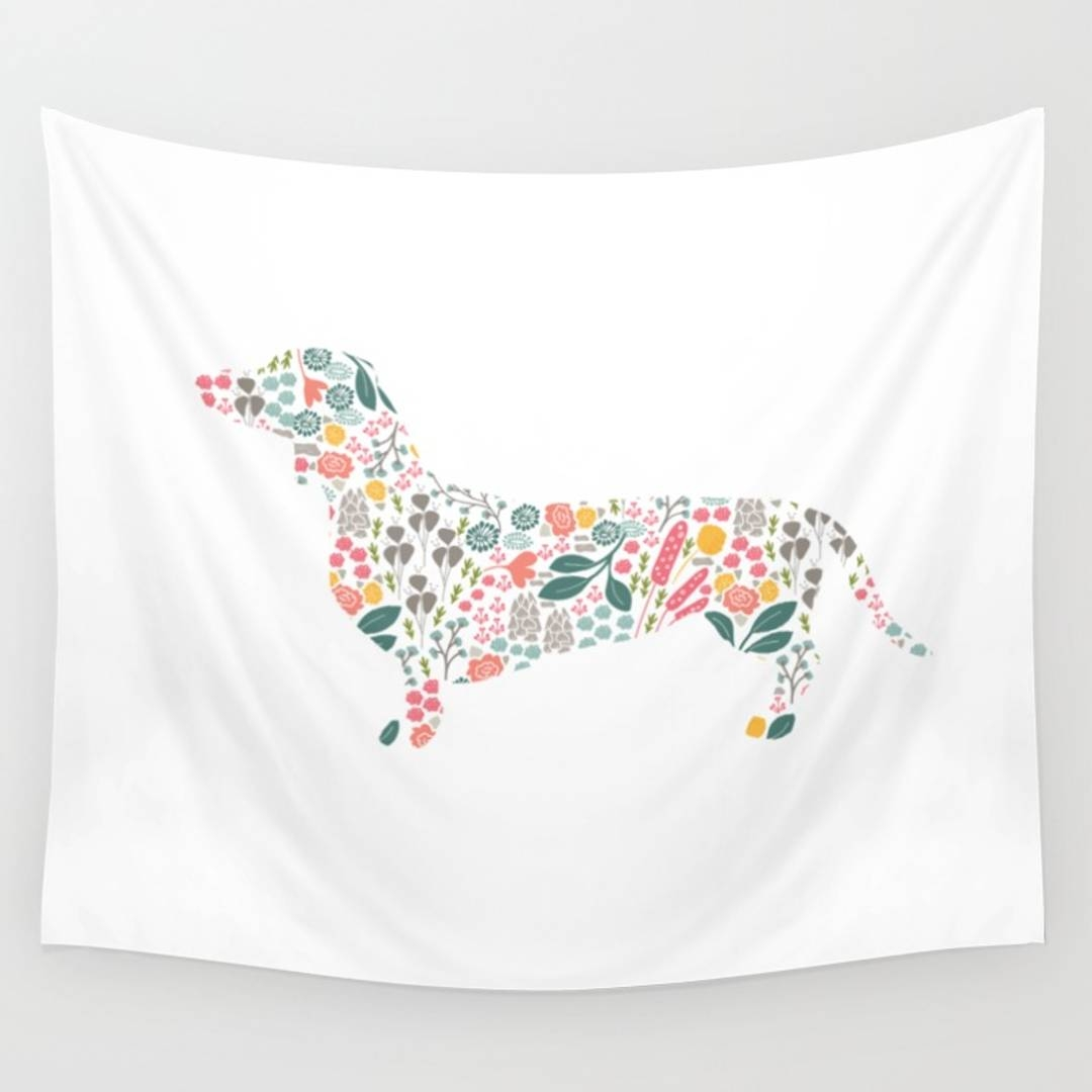 Dogsilhouette Wall Tapestries | Society6 With Most Recently Released Dachshund Wall Art (View 15 of 22)