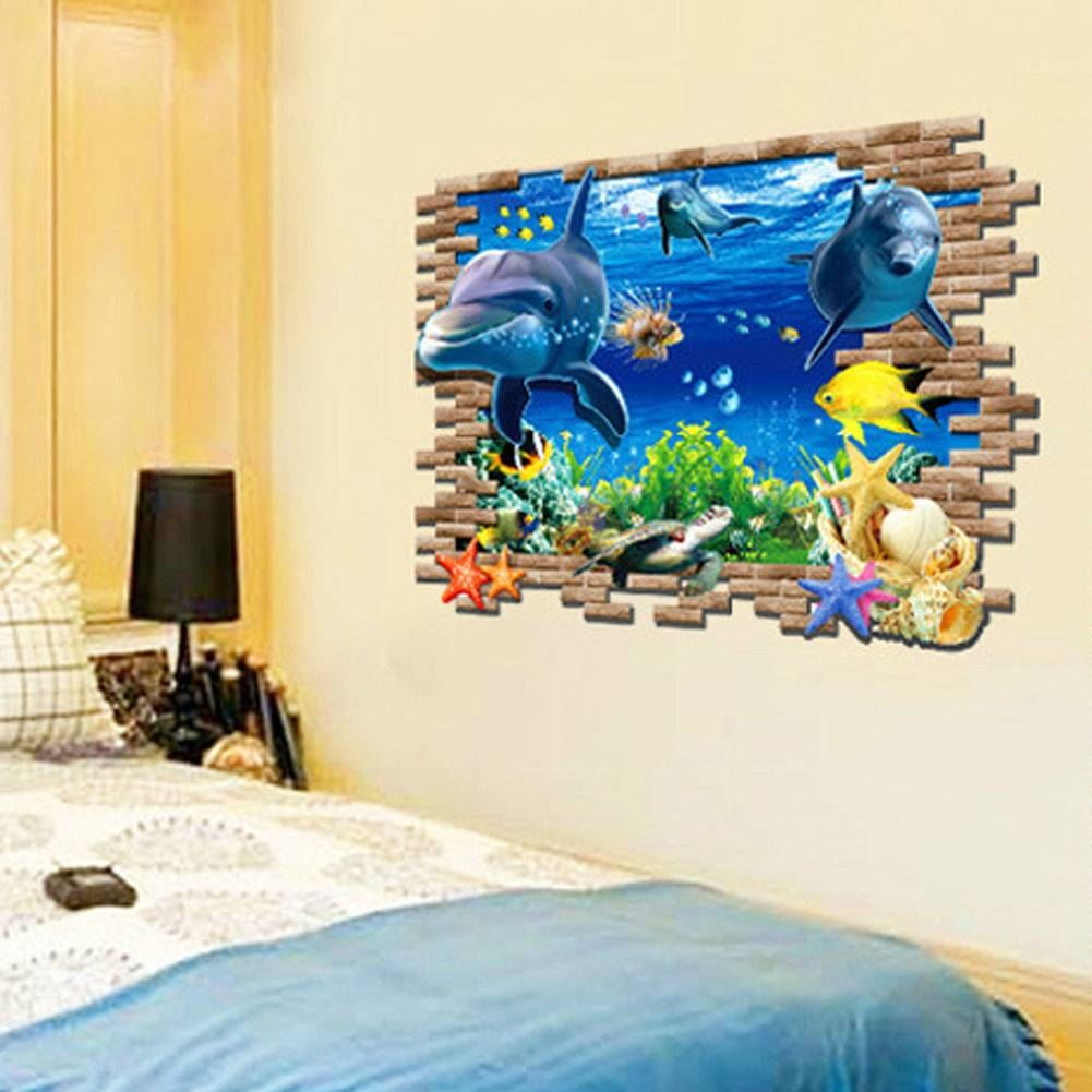 Dolphin 3d Wall Mural Removable Wall Sticker Art Vinyl Decal Room In Recent Vinyl 3d Wall Art (View 18 of 20)