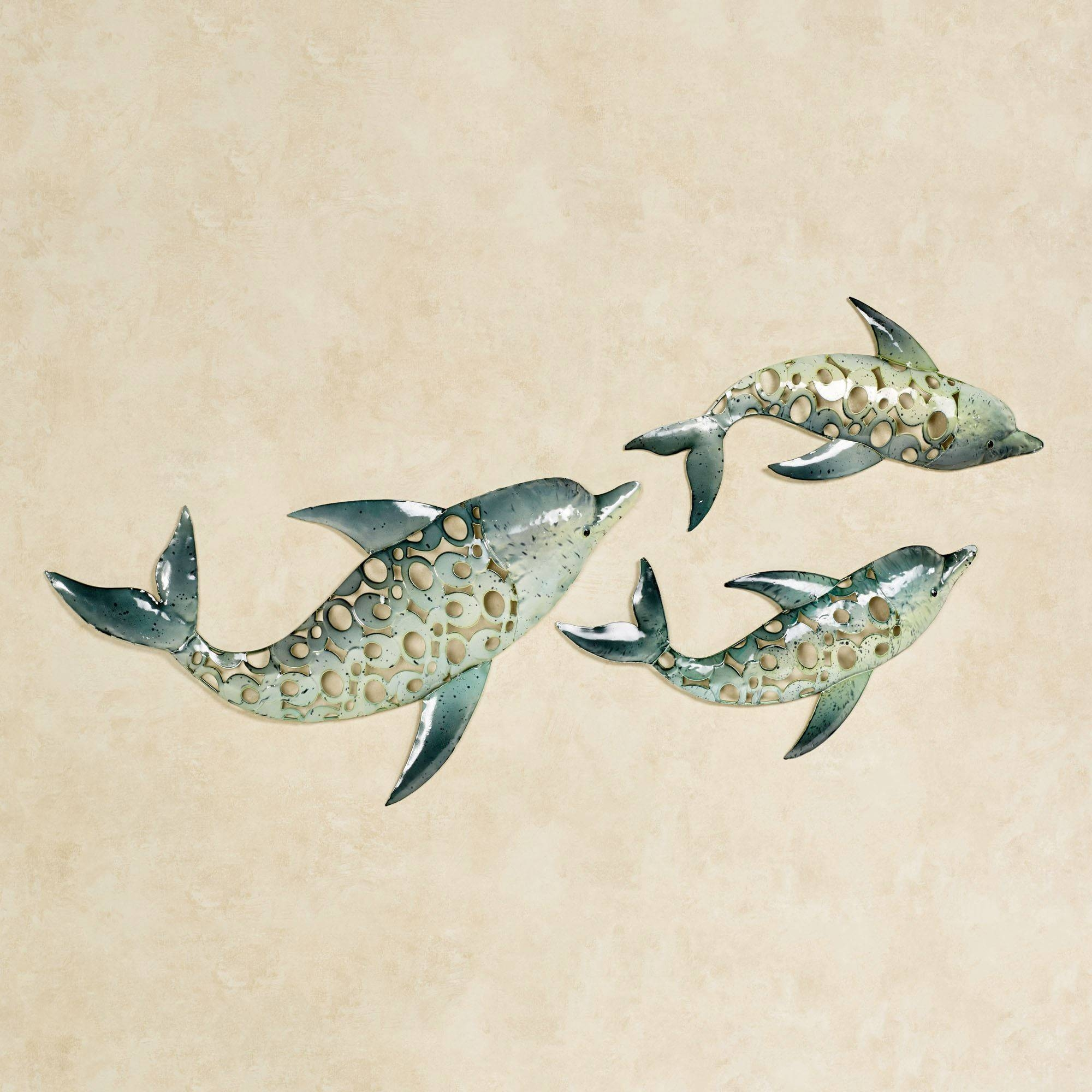 Dolphin Trio Indoor Outdoor Metal Wall Art Set Throughout Latest Dolphin Metal Wall Art (View 12 of 25)