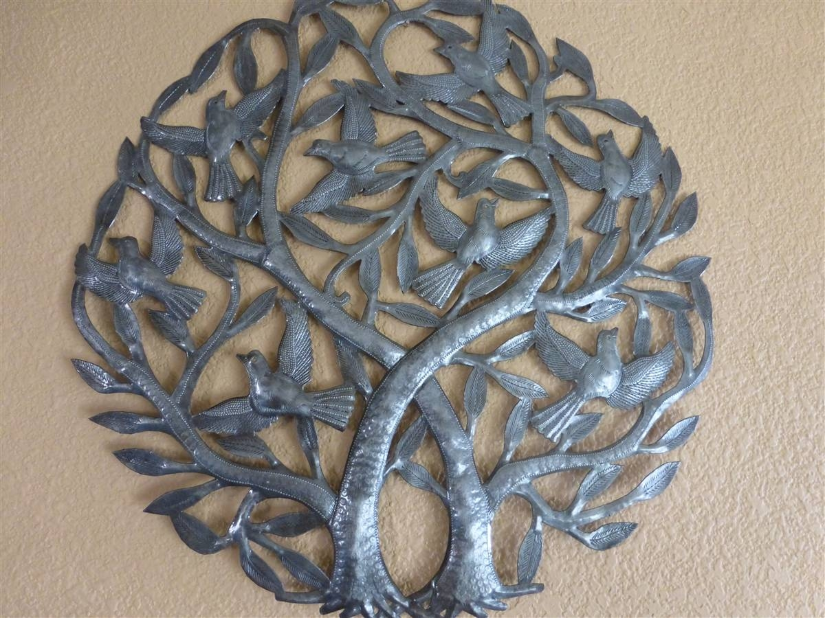 Double Tree Of Life, Recycled Oil Drum Wall Art 24 Inches – Haiti Inside Newest Recycled Wall Art (View 10 of 30)