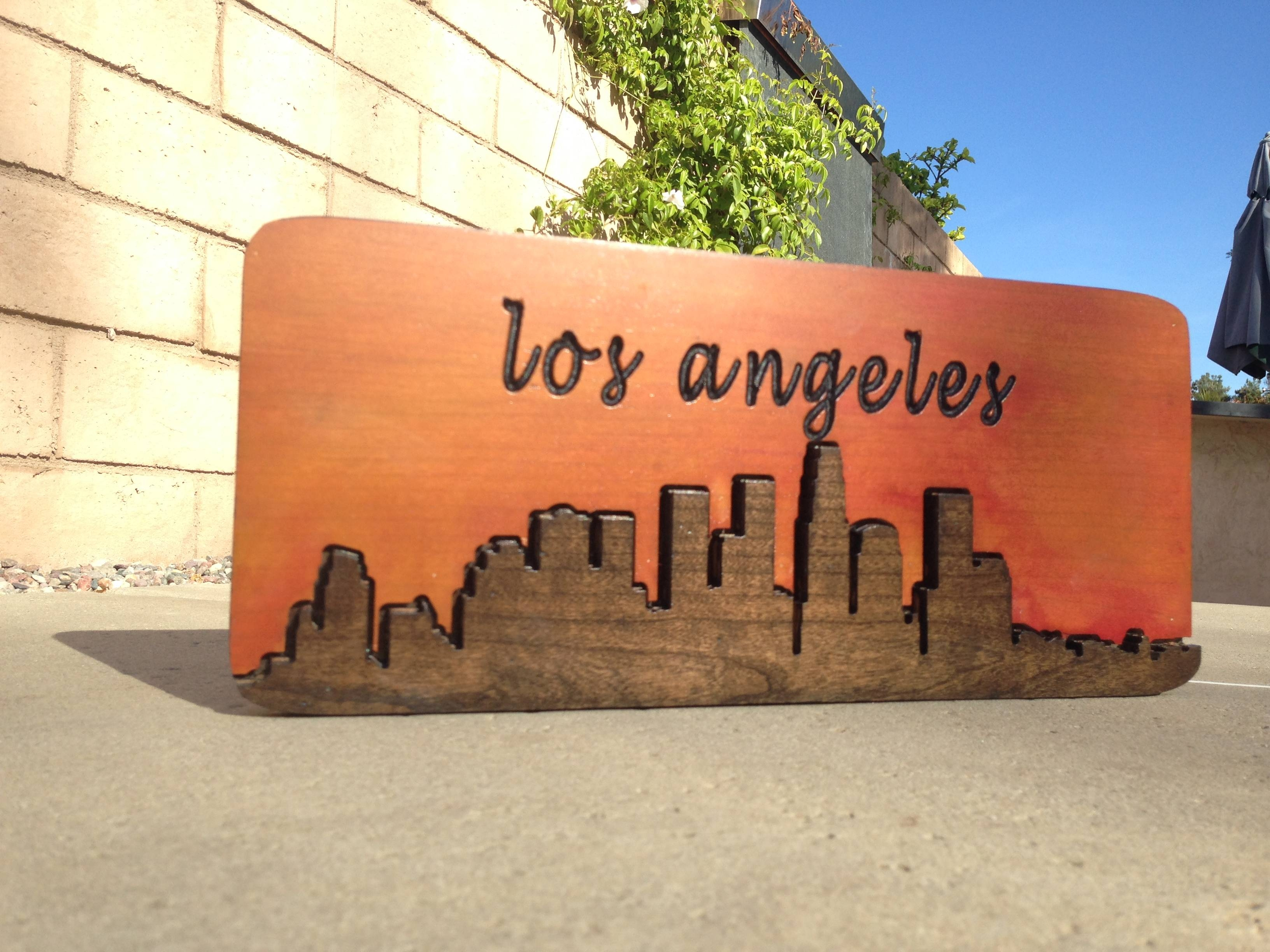 Downtown Los Angeles City Scape – Hand Made Wood Sign – Wood Wall With Most Current Los Angeles Wall Art (View 9 of 20)
