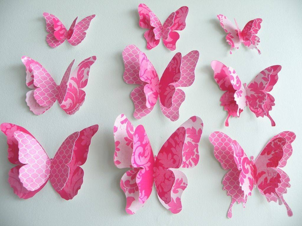 ? Decor : 38 Amusing 3d Design Pink Butterfly Paper Wall Art Inside Most Recent Pink Butterfly Wall Art (View 4 of 20)