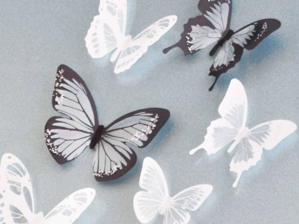 ?? Decor : 78 18Pcs Black And White Crystal Butterfly 3D Wall Pertaining To 2017 White 3D Wall Art (View 6 of 20)