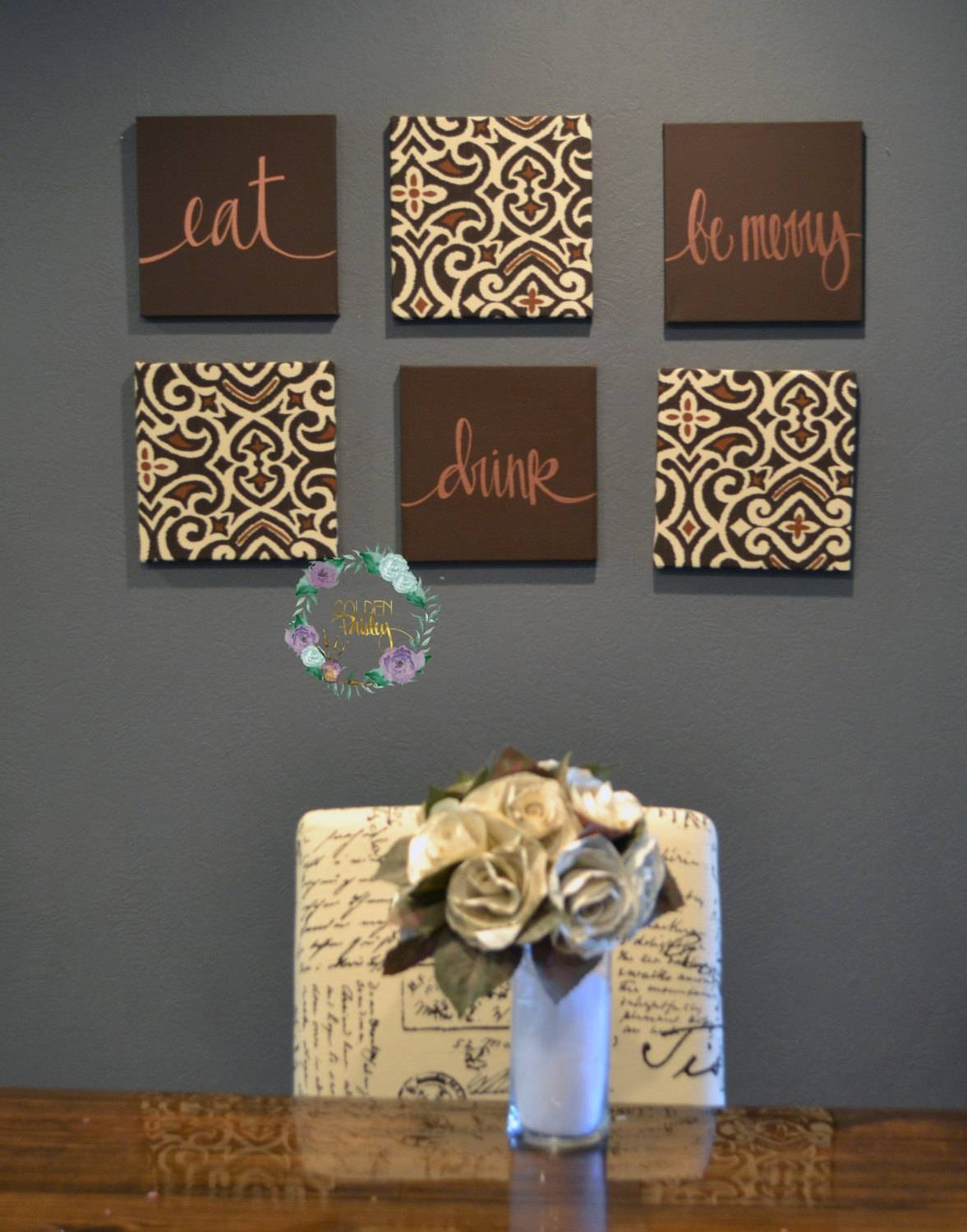 Eat Drink & Be Merry Wall Art Set Custom Canvas Wall Hangings For Newest Fabric Canvas Wall Art (View 10 of 20)