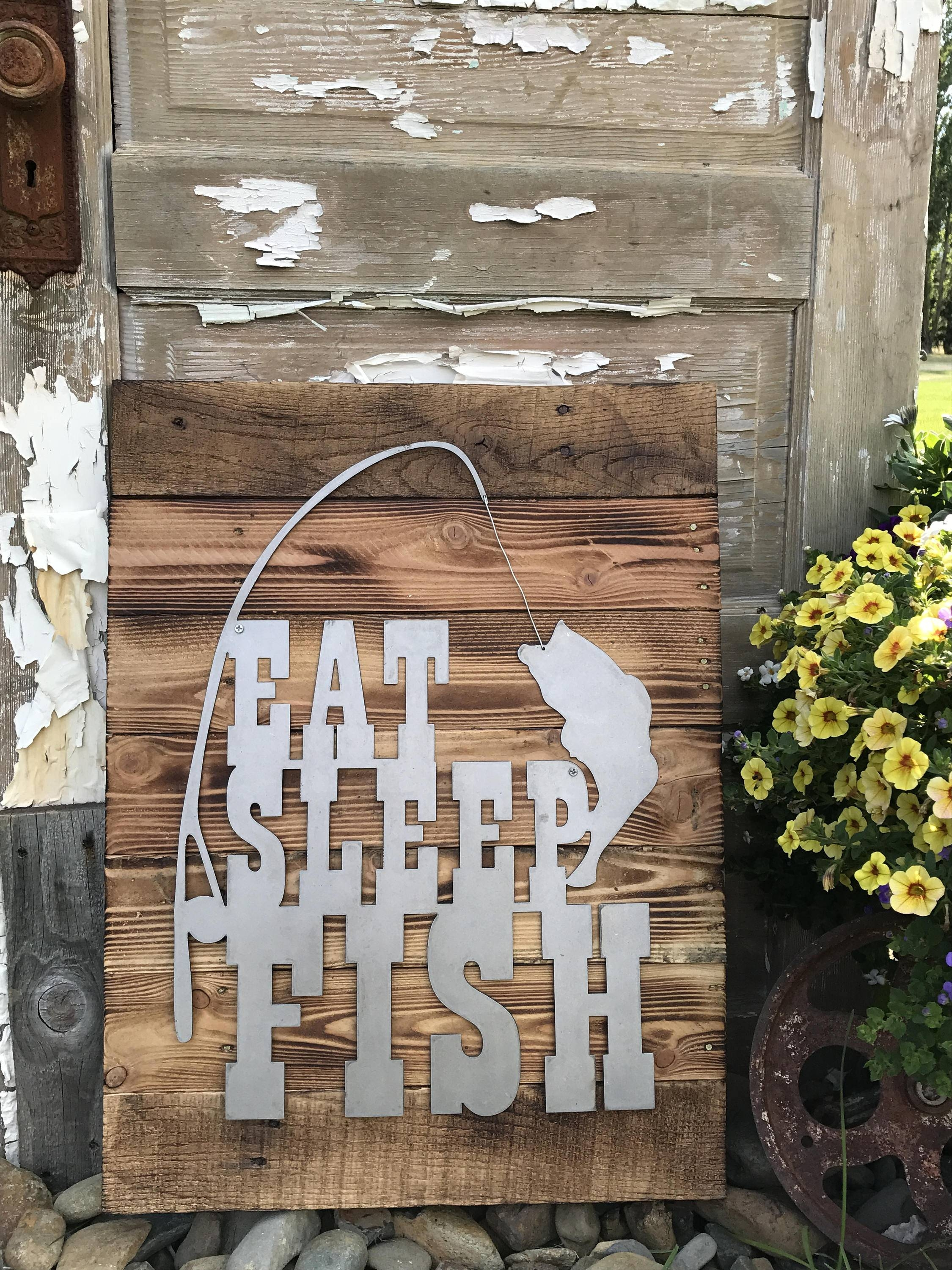 Eat Sleep Fish, Fishing Decor, Rustic Farmhouse Style Decor With Recent Country Style Wall Art (View 30 of 30)