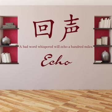 Echo Chinese Proverb Wall Sticker Chinese Symbol Wall Art Within Most Recent Chinese Symbol Wall Art (View 7 of 30)