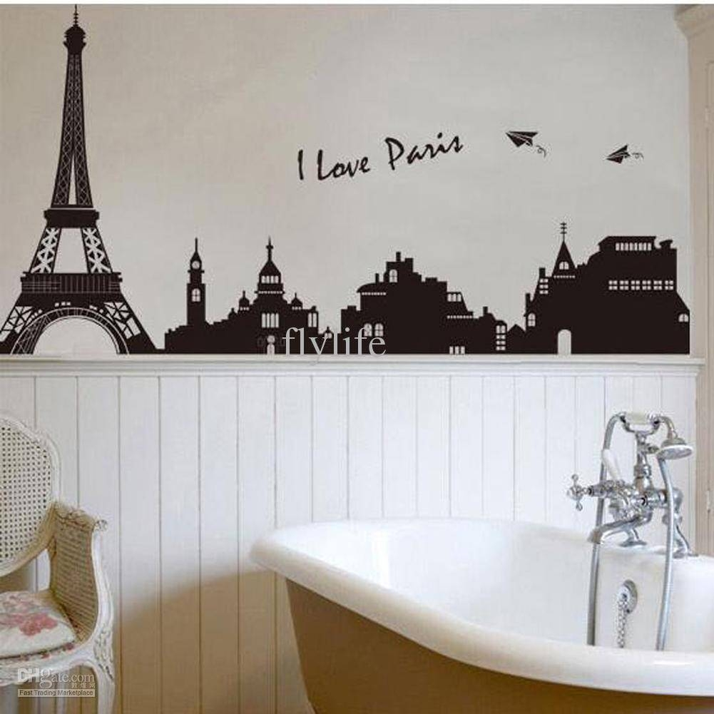Eiffel Tower Building In Romantic Pairs, Large Black Art Wall Within Most Recently Released Paris Theme Wall Art (View 17 of 30)