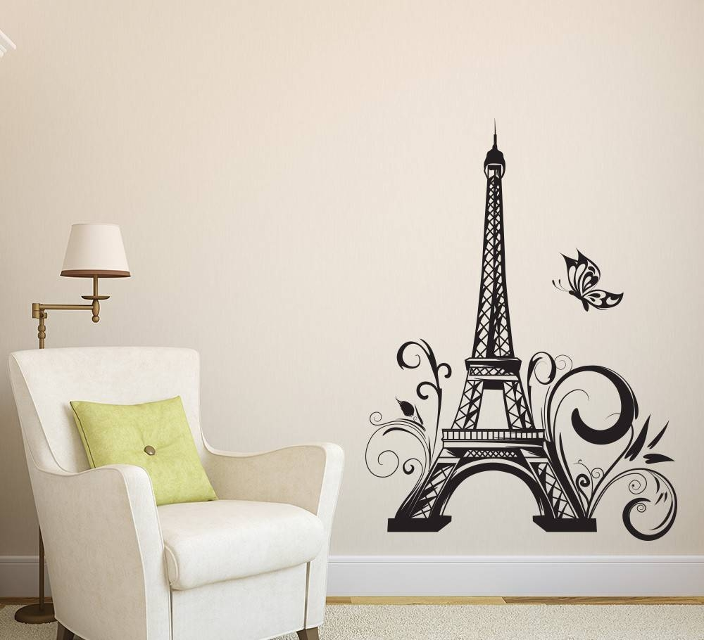 Eiffel Tower Decor Paris Wall Sticker Vinyls Stickers Muraux Wall Throughout Best And Newest Paris Stickers (View 4 of 15)