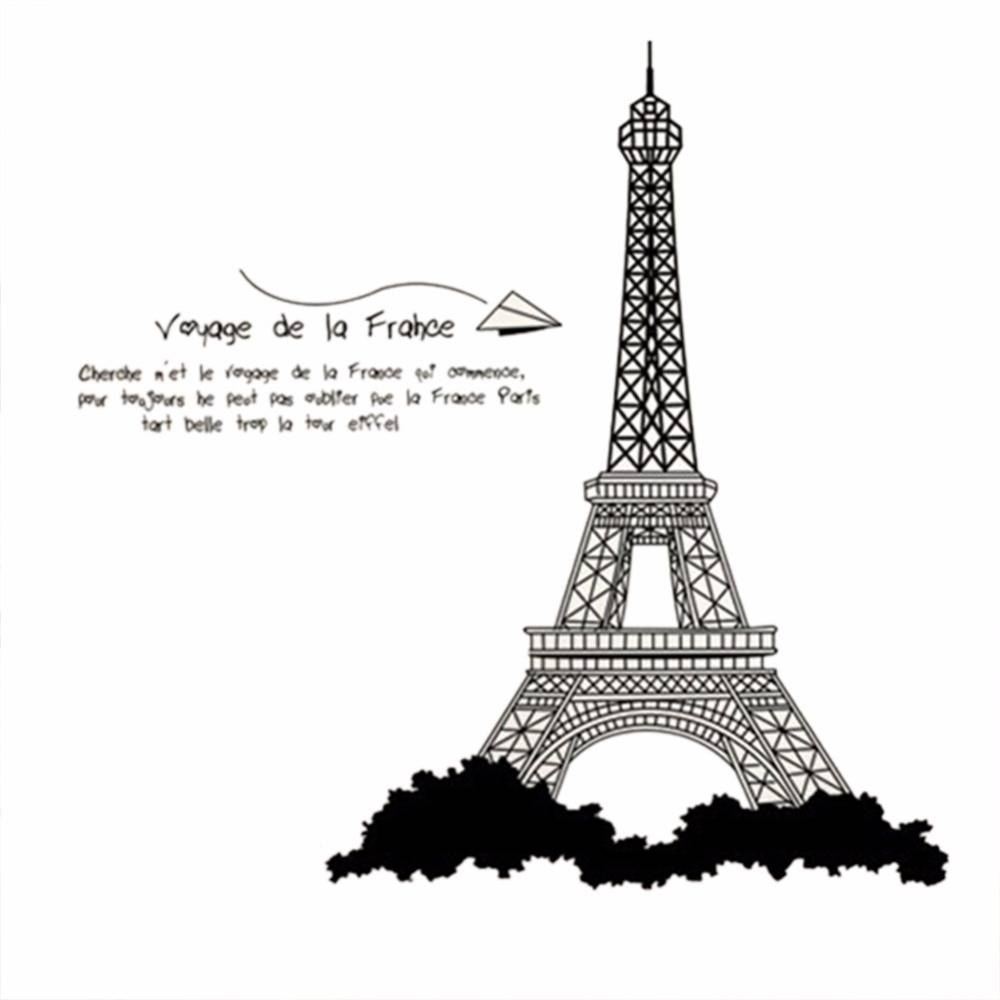 Eiffel Tower Design Wall Stickers Mural Wall Sticker Home Office Intended For Best And Newest Paris Themed Stickers (Gallery 7 of 15)
