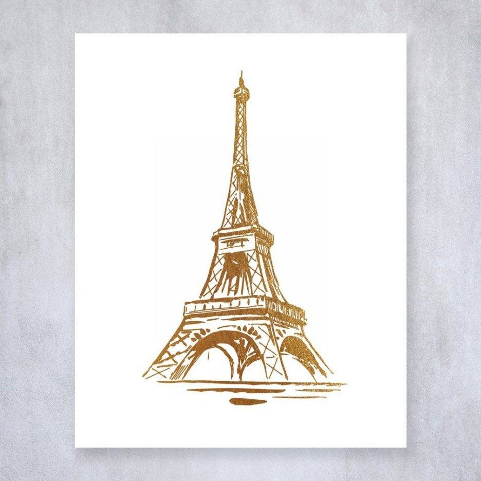 Eiffel Tower Gold Foil Print Wall Art Poster Paris Home Decor Pertaining To 2018 Eiffel Tower Wall Hanging Art (Gallery 10 of 20)