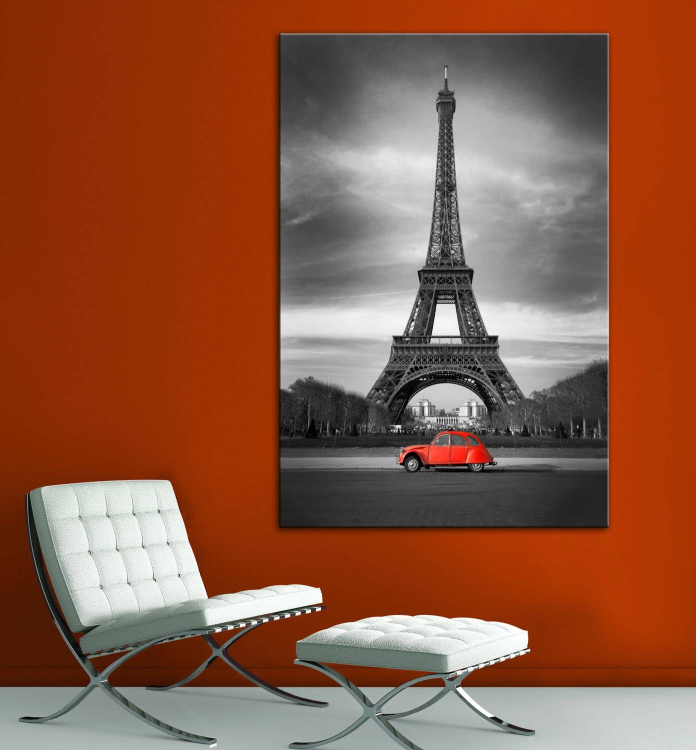 Eiffel Tower Red Car Paris Black White Wall Art Canvas Giclee Throughout Most Recent Black And White Paris Wall Art (View 8 of 25)