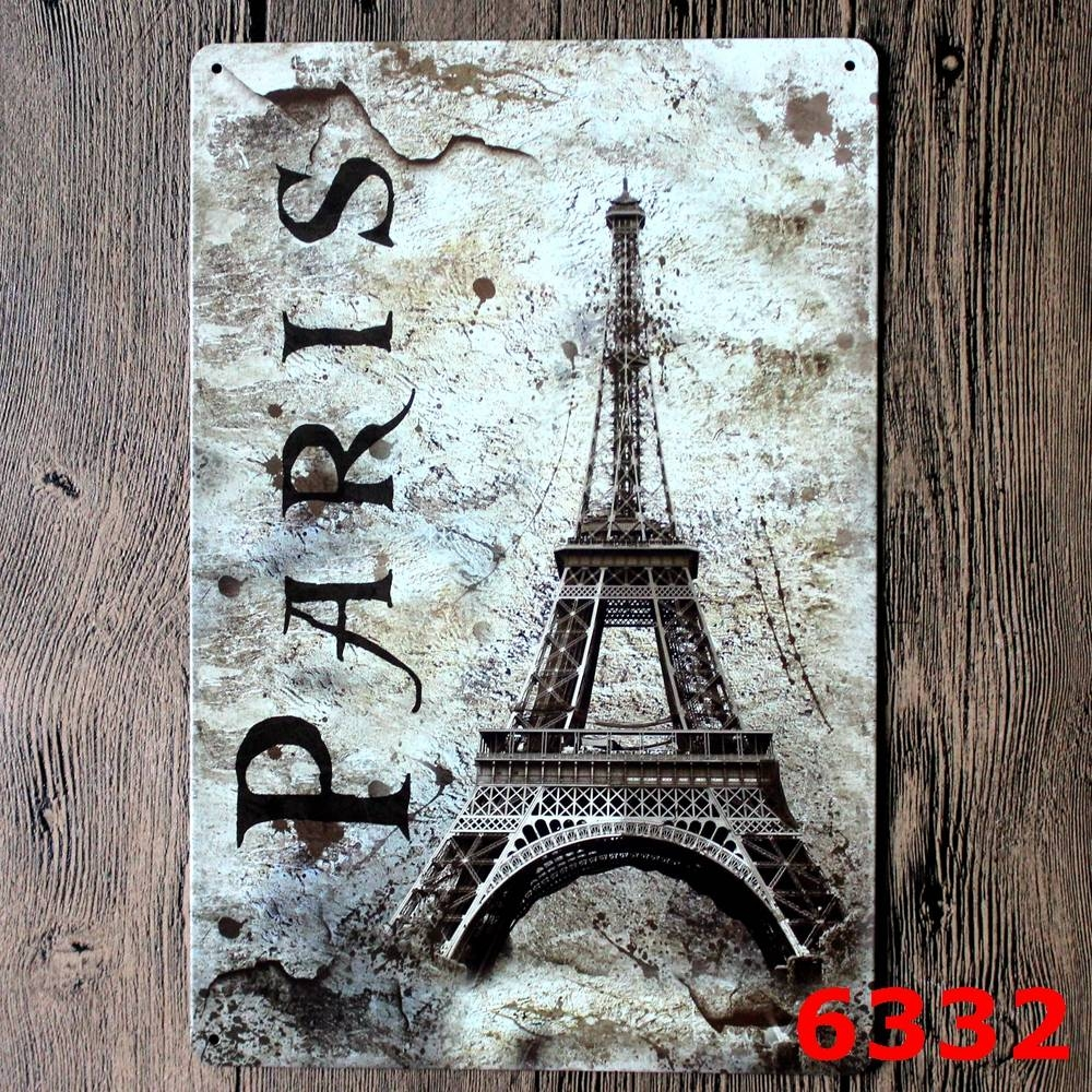 Eiffel Tower/ Statue Of Liberty Metal Sign Metal Tin Sign Bar Wall With Latest Metal Eiffel Tower Wall Art (View 11 of 30)