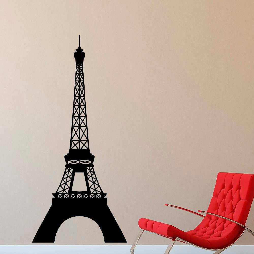 Eiffel Tower Wall Decal Paris Theme Decor Vinyl Wall Decal Within Most Recently Released Eiffel Tower Wall Art (View 10 of 20)