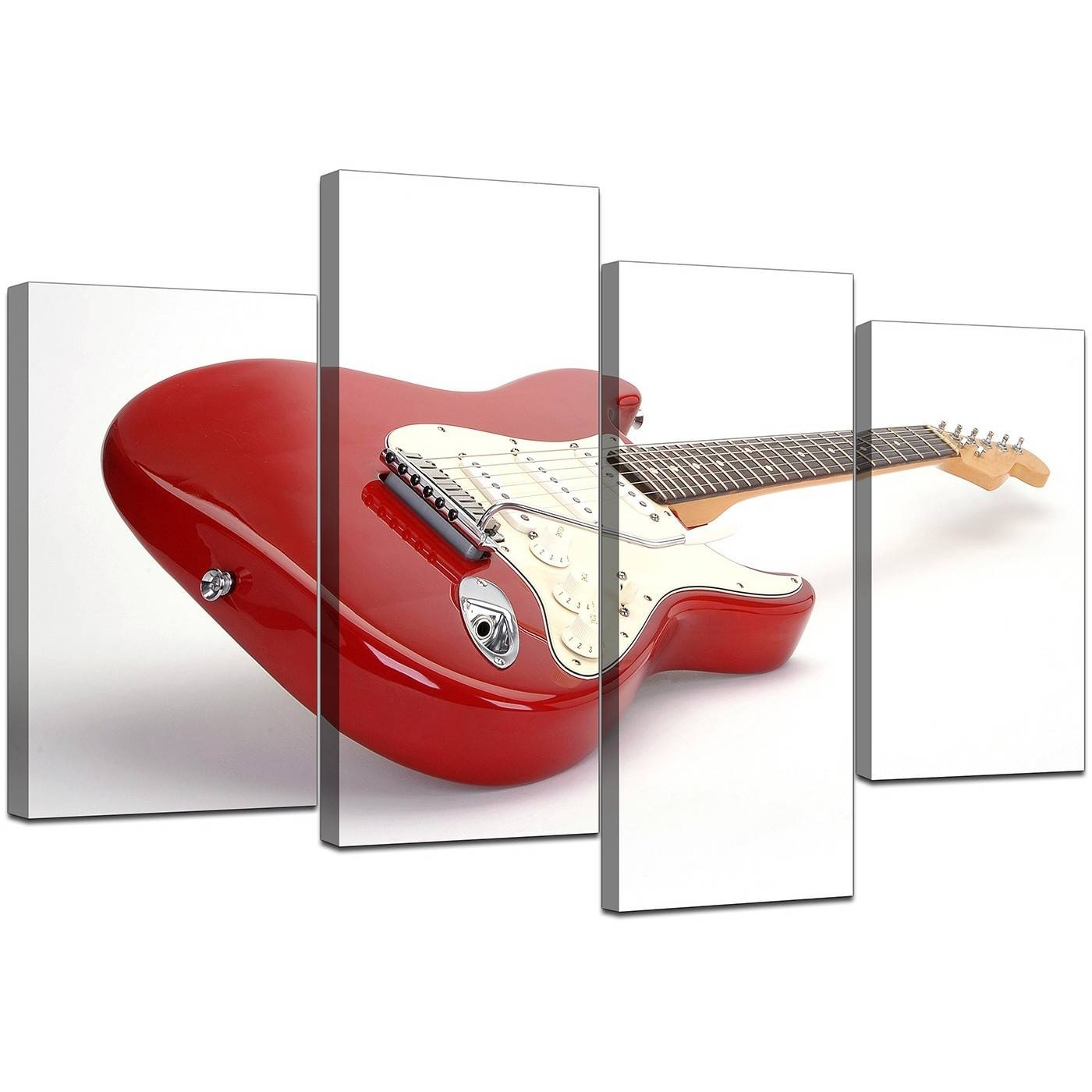 Electric Guitar Canvas Wall Art In Red – For Bedroom Inside Most Popular Guitar Canvas Wall Art (View 13 of 20)