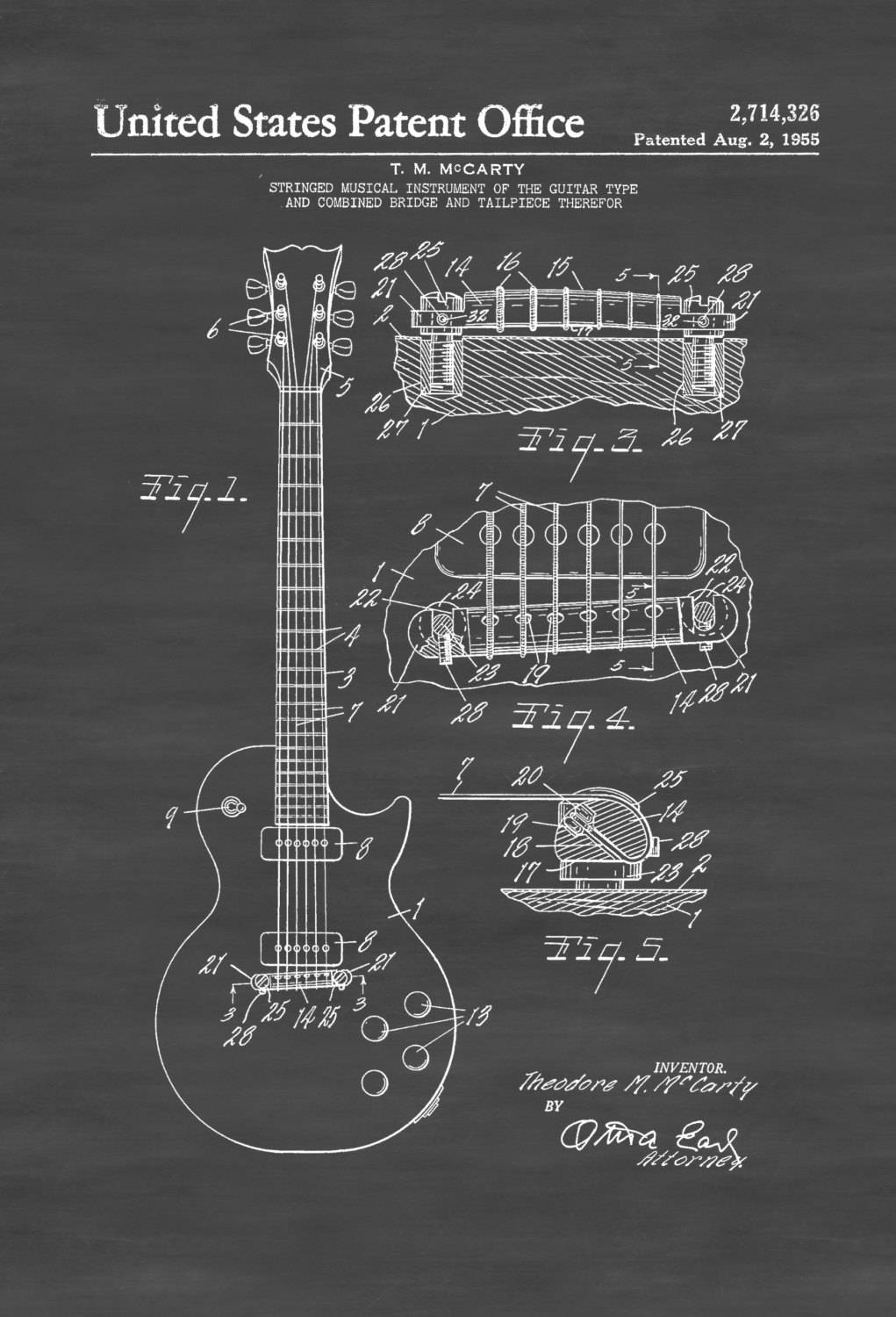 Electric Guitar Patent – Patent Print, Wall Decor, Music Poster Pertaining To Most Recent Musical Instrument Wall Art (View 7 of 25)