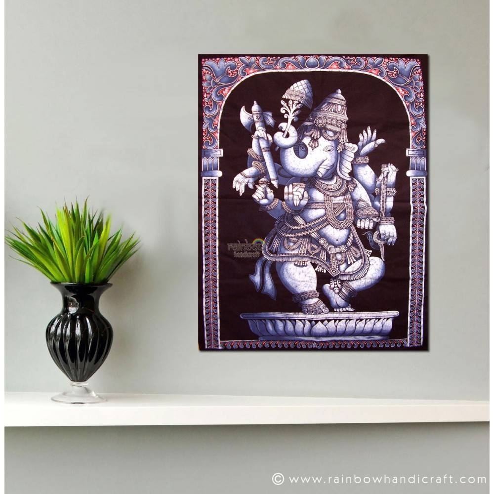 Elephant God Ganesha Dance Batik Wall Hanging Tapestry Pertaining To Latest Ganesh Wall Art (View 11 of 20)