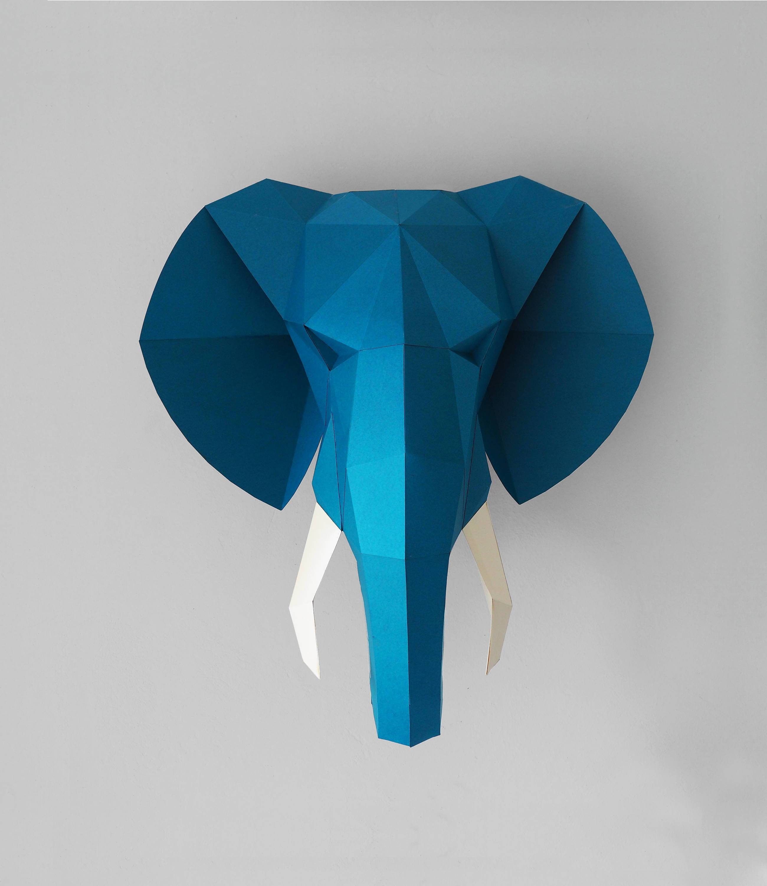 Elephant Head – Printable Pdf Pattern – Smaga Projektanci Pertaining To Most Popular 3D Wall Art With Paper (View 16 of 20)