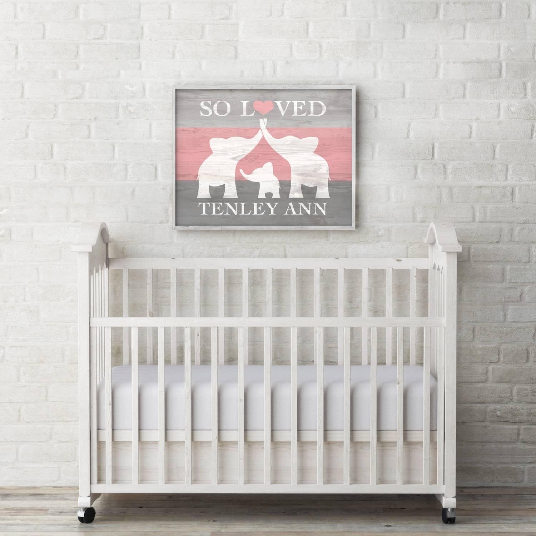 Elephant Nursery Decor Custom Baby Name Wall Art Elephant Within Most Current Baby Name Wall Art (Gallery 3 of 25)