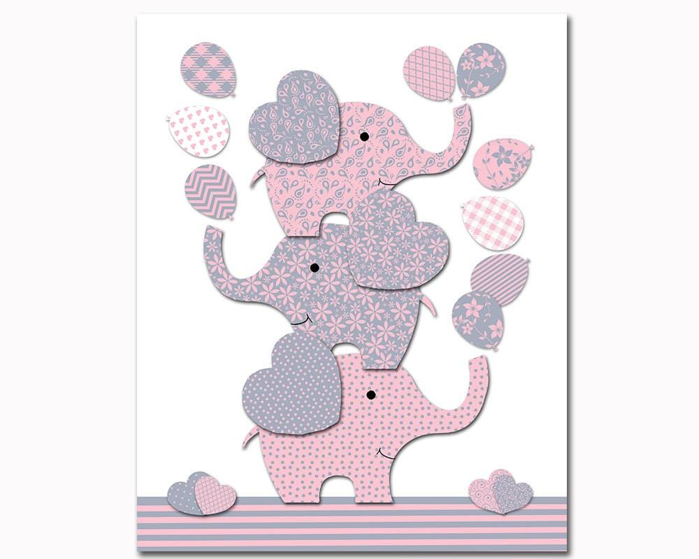 Elephant Nursery Decor Pink Grey Nursery Wall Art For Baby With Regard To Newest Pink And Grey Wall Art (View 8 of 20)