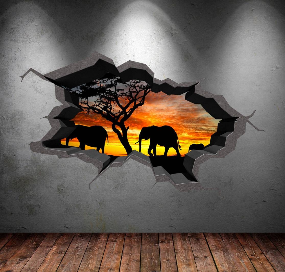 Elephant Safari Wall Decal Cracked 3D Wall Sticker Mural Decal Throughout Current 3D Wall Art Etsy (View 13 of 20)