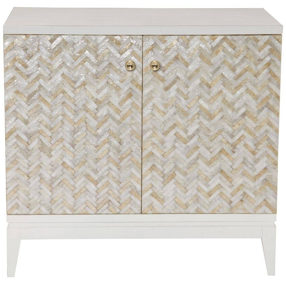 Eli Coastal Beach Herringbone Capiz Shell 2 Door Chest Cabinet Inside Most Current Capiz Shell Wall Art (View 20 of 30)