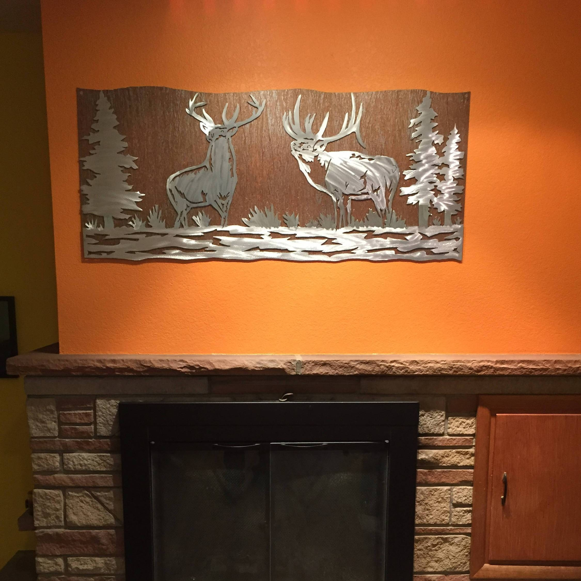 Elk Artwork. Metal Wall Art, Nature Scene, Wildlife, Forest, Bear Pertaining To Most Popular Mountain Scene Metal Wall Art (Gallery 29 of 30)