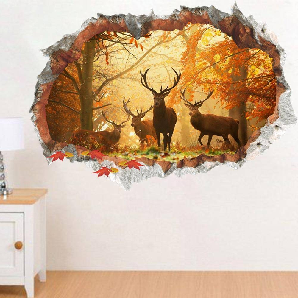 Elk Forest Broken 3D Wall Art Stickers Animals Mural Wallpaper For In Current Animals 3D Wall Art (Gallery 2 of 20)