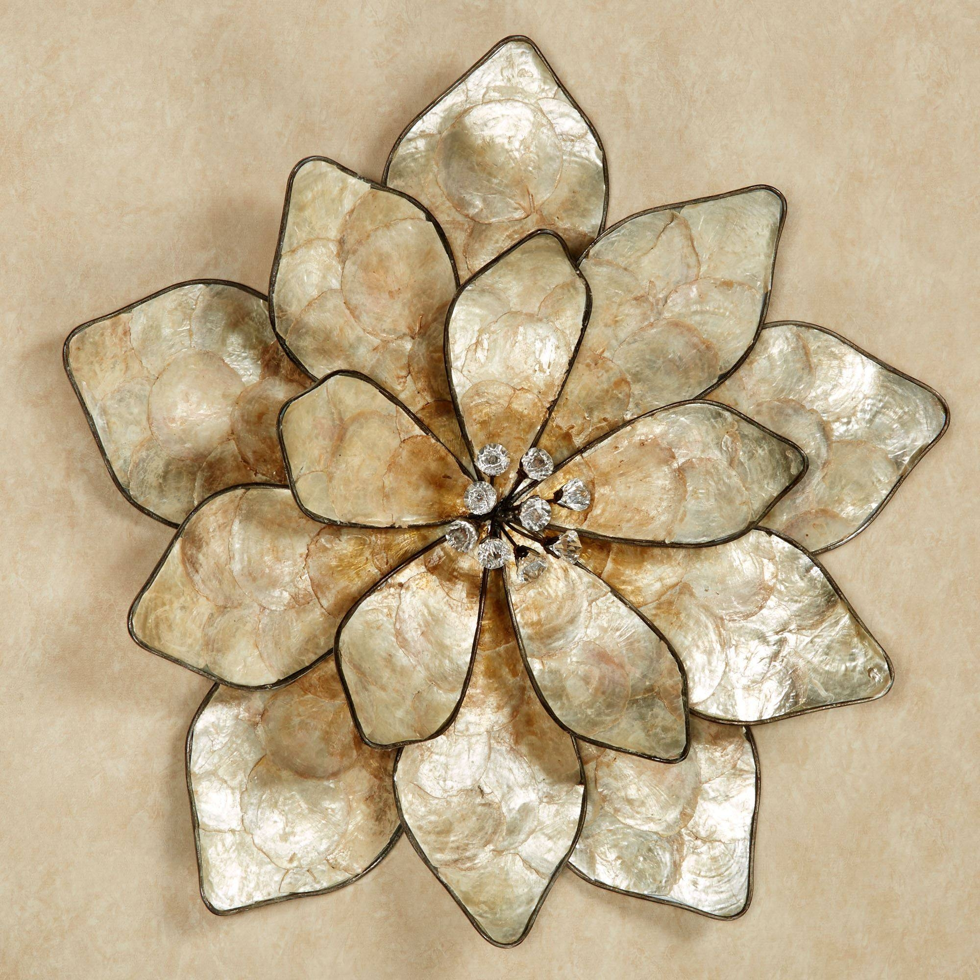 Eloquence Bloom Capiz Shell Flower Wall Art Throughout 2018 Cream Metal Wall Art (Gallery 2 of 20)