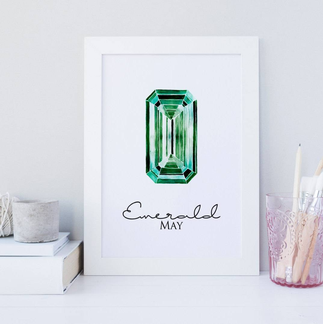 Emerald Gemstone Wall Art Gemstone Wall Art Print Printable In Most Up To Date Gemstone Wall Art (View 11 of 31)