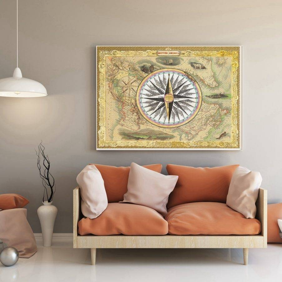 Enchanting Retro Wall Art Australia Vintage Old Map Compass Retro Throughout 2018 Large Retro Wall Art (Gallery 24 of 25)