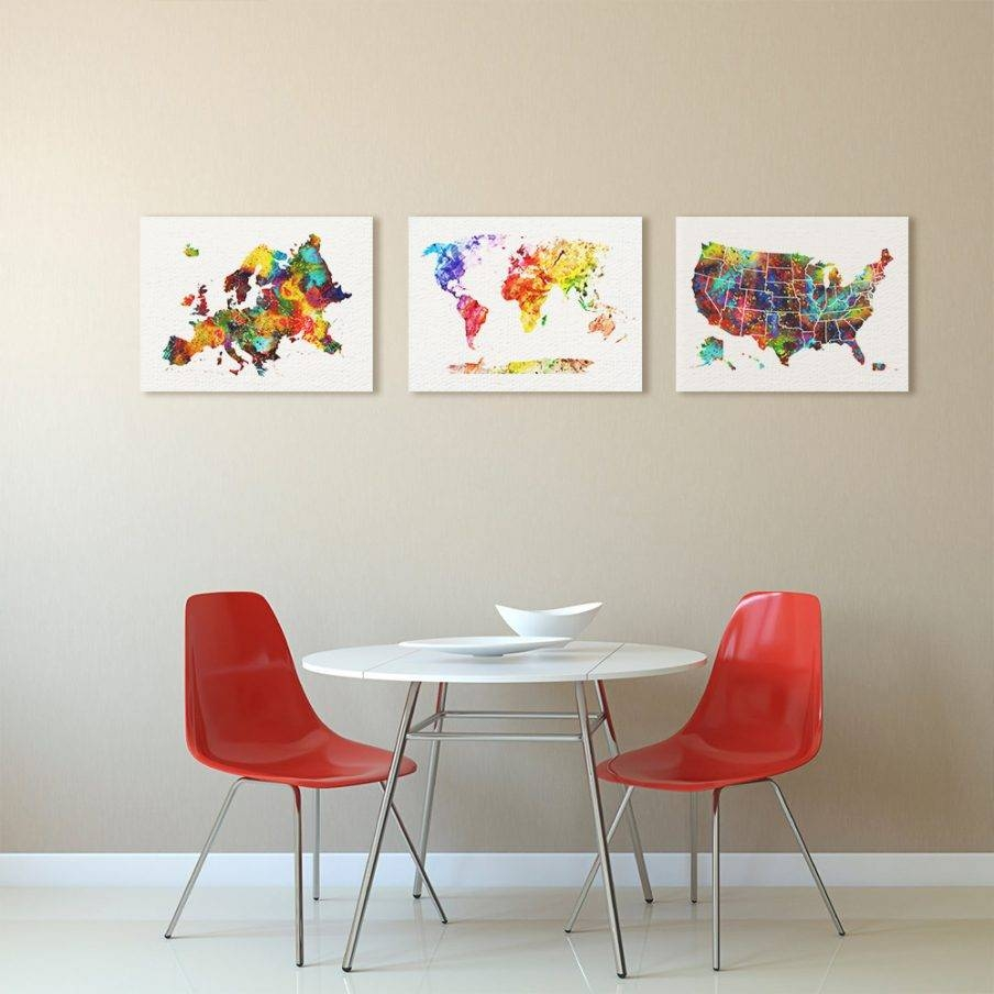 Enchanting United States Canvas Wall Art Us Map Wall Art Wooden Inside Best And Newest United States Map Wall Art (View 2 of 20)