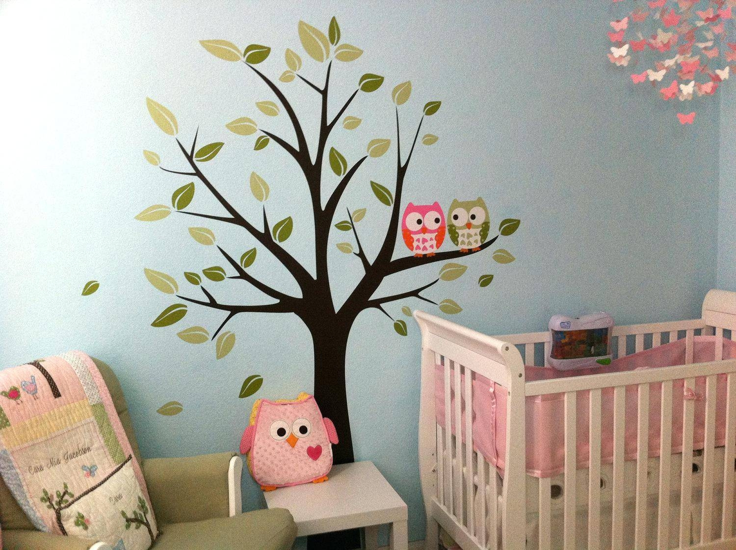 Etsy Owl Wall Decal Baby Boy Nursery Art Print Nursery Wall Art For Most Current Owl Wall Art Stickers (Gallery 5 of 15)