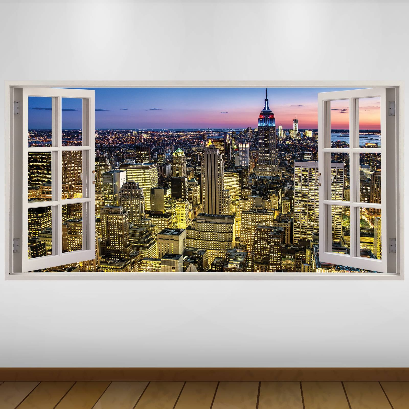 Extra Large Aerial View City New York 3D Vinyl Wall Art Decal With Best And Newest New York 3D Wall Art (View 5 of 20)