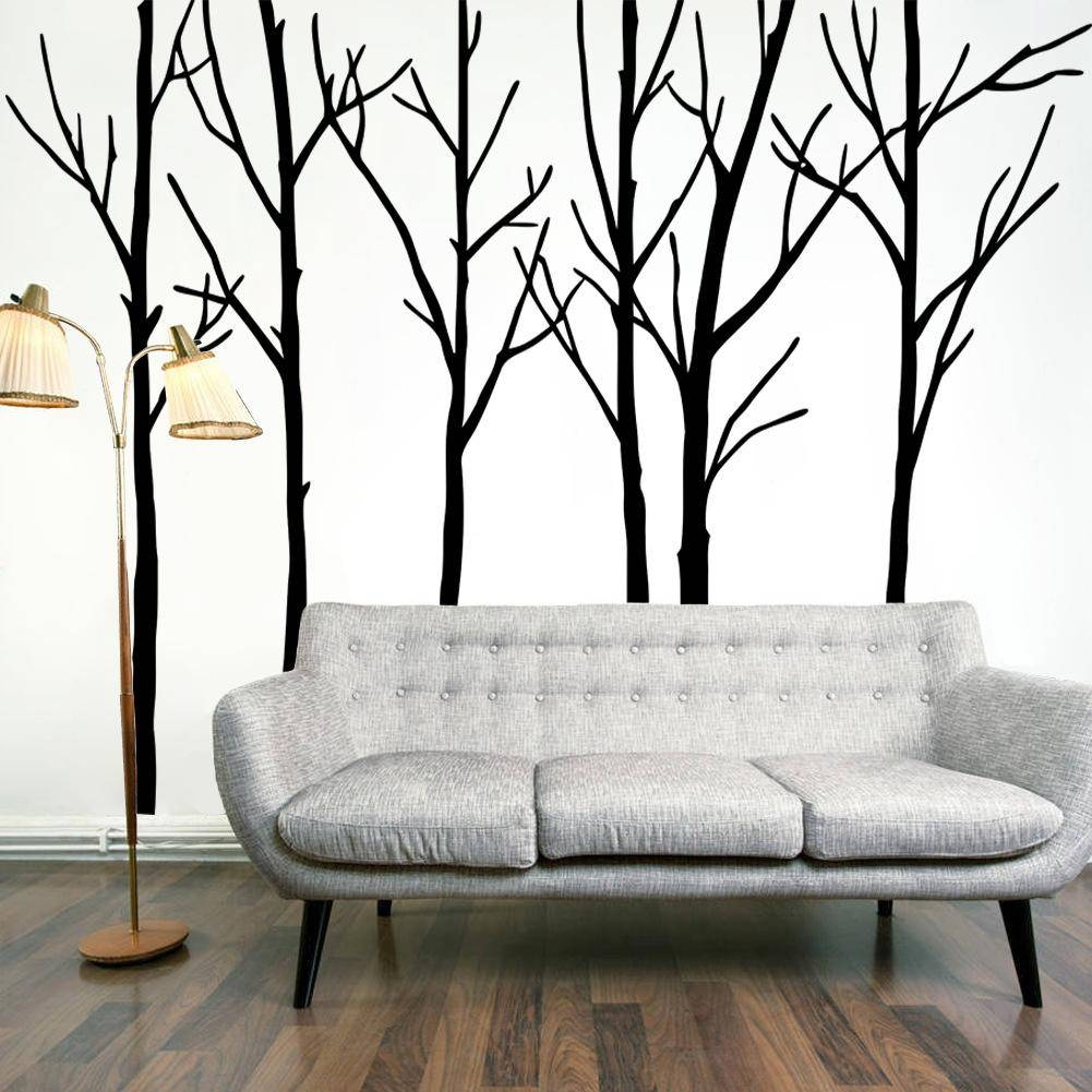 Extra Large Black Tree Branches Wall Art Mural Decor Sticker Intended For Most Popular Big Cheap Wall Art (View 12 of 20)
