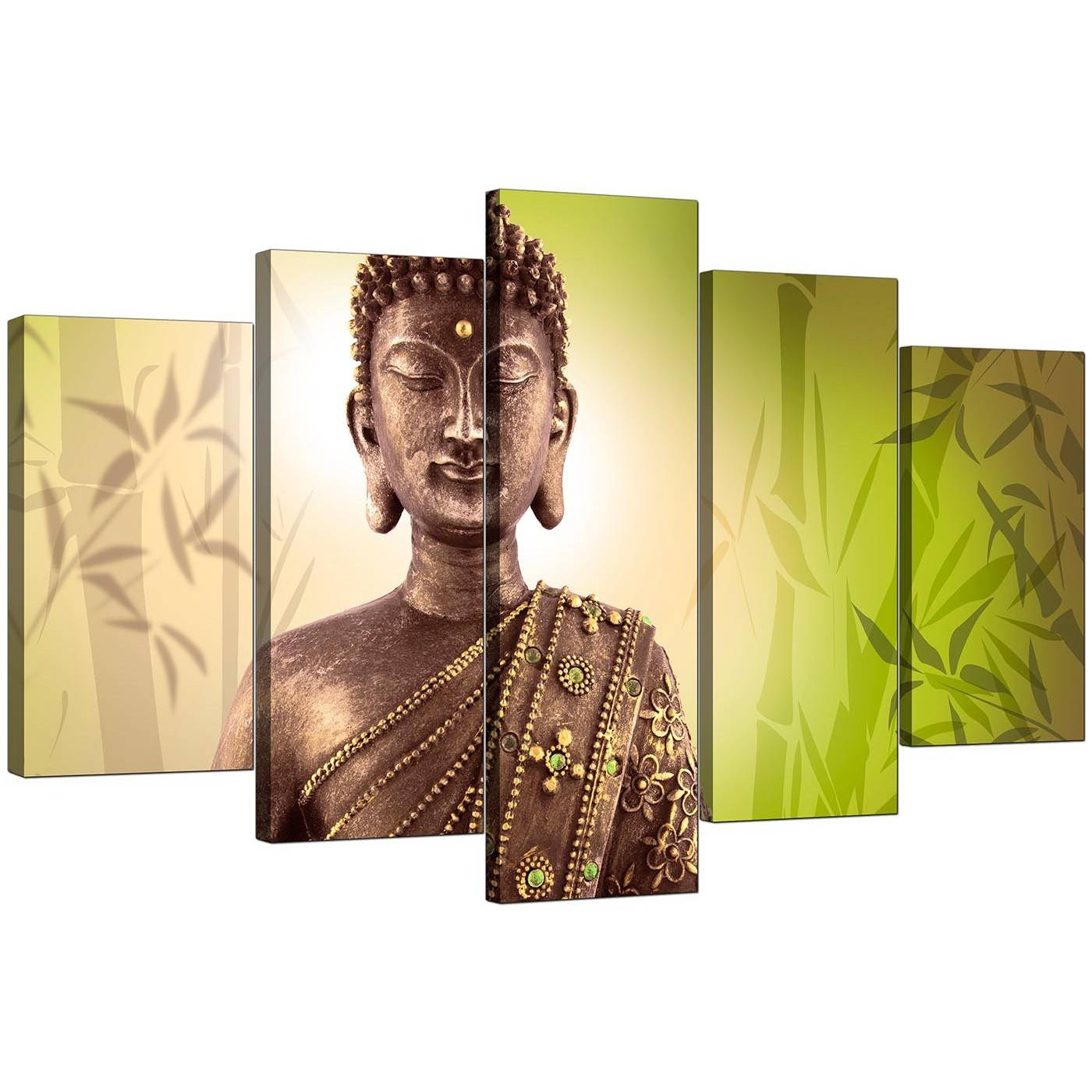 Extra Large Buddha Canvas Wall Art 5 Piece In Green Throughout Newest Large Buddha Wall Art (Gallery 6 of 15)
