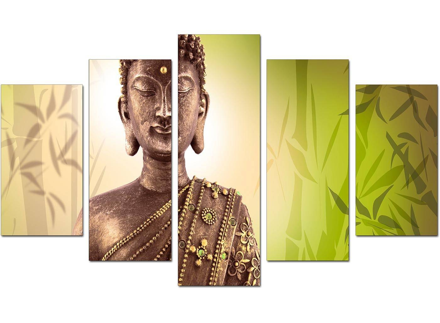 Extra Large Buddha Canvas Wall Art 5 Piece In Green With Most Current Large Buddha Wall Art (View 9 of 15)