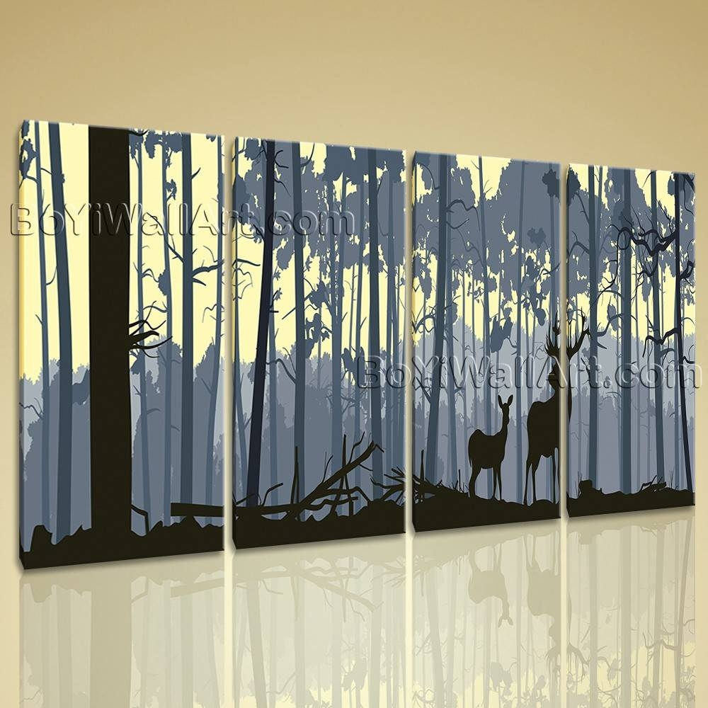 Extra Large Deer Forest Trees Animal Contemporary Wall Art Print For Recent Contemporary Wall Art (View 11 of 20)