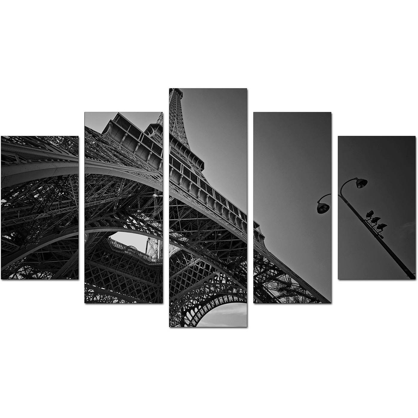 Extra Large Eiffel Tower Paris Canvas Art Set Of 5 In Black & White In Most Popular Black And White Paris Wall Art (View 9 of 25)