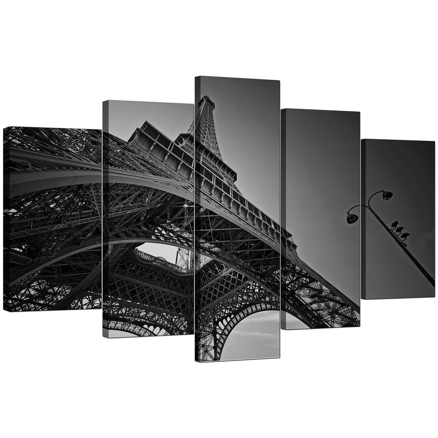 Extra Large Eiffel Tower Paris Canvas Art Set Of 5 In Black & White Regarding Best And Newest Black And White Wall Art Sets (View 7 of 20)