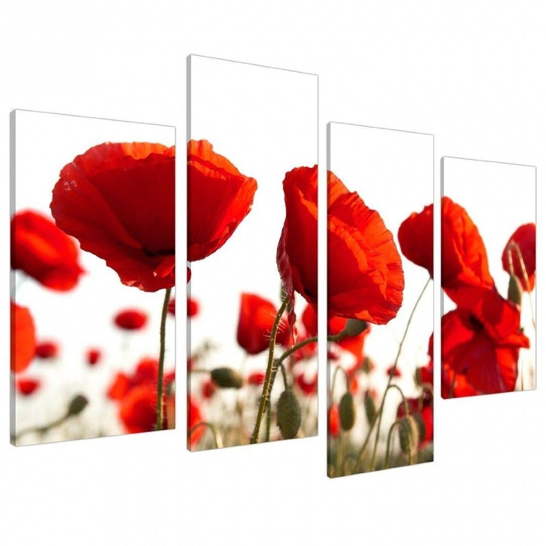 Extra Large Floral Flowers Red Poppy Canvas Wall Art Xl Pictures Within Best And Newest Red Poppy Canvas Wall Art (View 8 of 20)