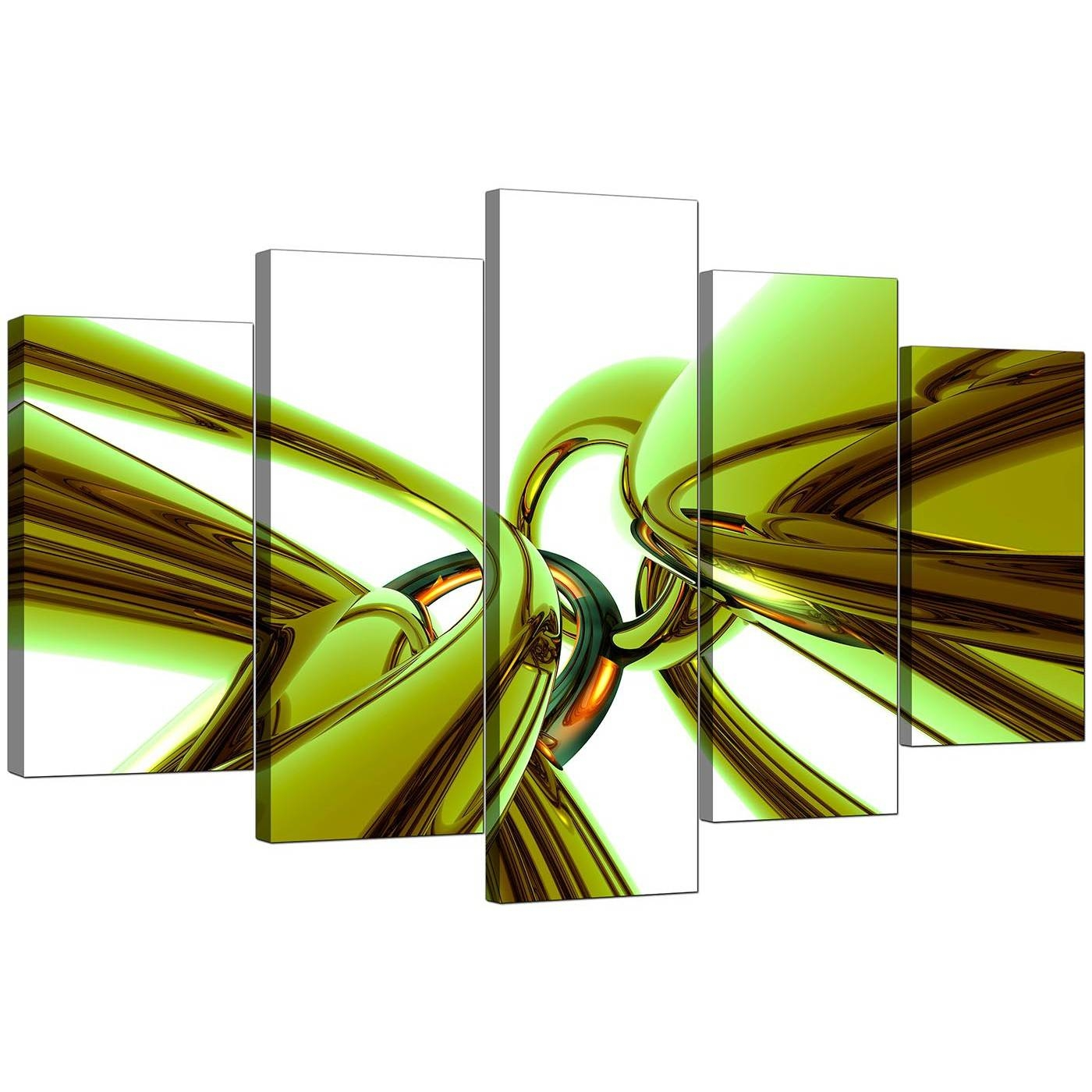Extra Large Green Abstract Canvas Prints Uk – 5 Piece Throughout Most Current Lime Green Wall Art (View 7 of 20)