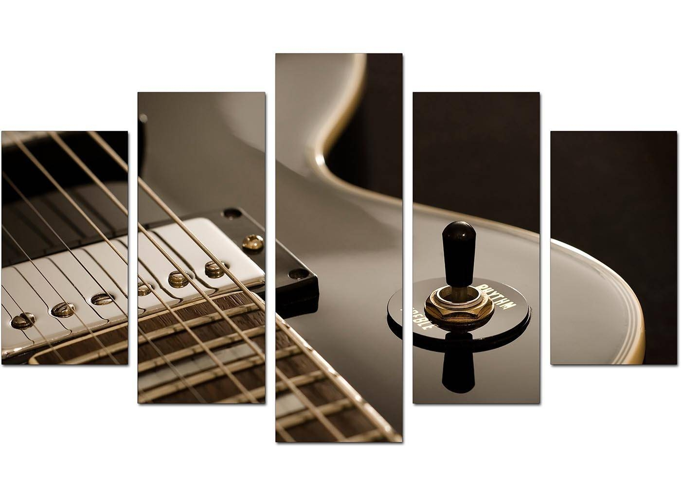 Extra Large Guitar Canvas Prints Uk 5 Piece In Black & White In Most Up To Date Guitar Canvas Wall Art (View 14 of 20)