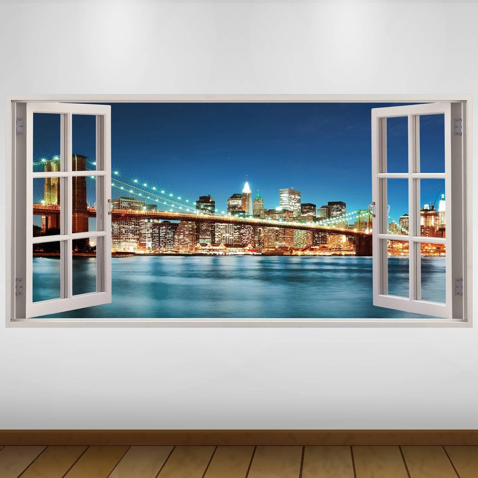 Extra Large New York Brooklyn Bridge City 3d Vinyl Wall Art Decal Inside Recent Vinyl 3d Wall Art (View 14 of 20)