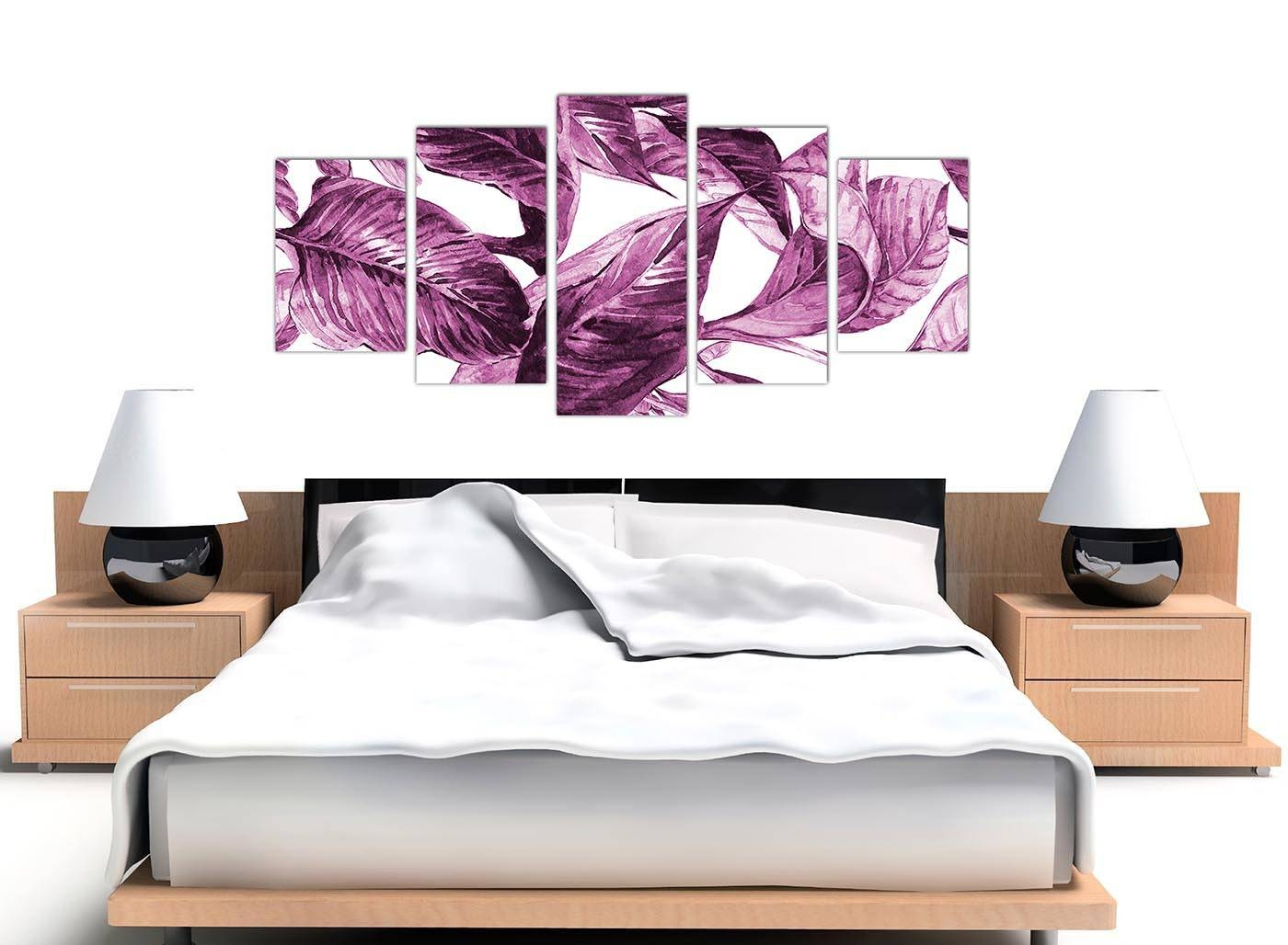 Extra Large Plum Aubergine White Tropical Leaves Canvas Wall Art Pertaining To Most Current Aubergine Wall Art (View 12 of 20)