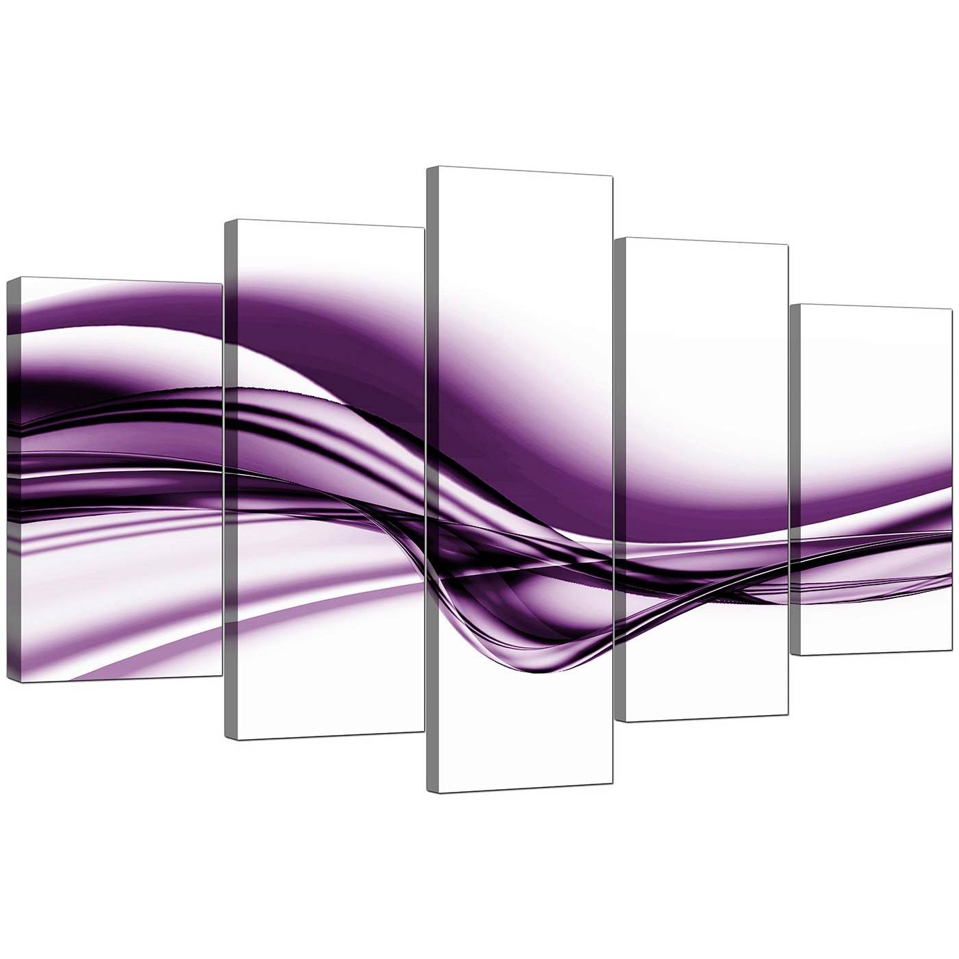 Extra Large Purple Abstract Canvas Prints – 5 Piece Intended For Most Up To Date Purple Canvas Wall Art (View 12 of 20)